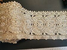 sari cut work pearl GOLD  Indian wedding dance costume ribbon crystal applique