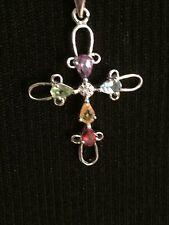 New Genuine Multi-Gemstone Sterling Silver Cross Pendant Necklace