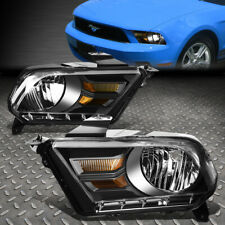 For 10-14 Ford Mustang Black Housing Amber Corner Headlight Replacement Lamps