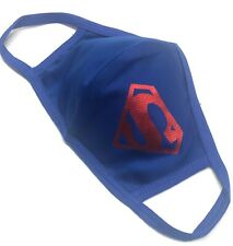 Face mask DRI-FIT polyester, royal blue color, double layer customized Superman