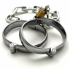 STAINLESS STEEL ANKLE SHACKLES WITH LOCKS, sissy maid, corset, abdl