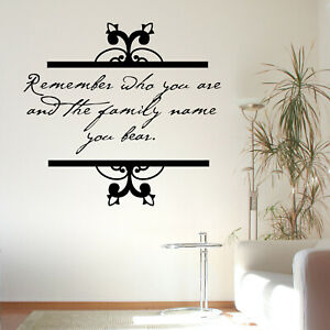 Remember Who You Are Quote Wall Sticker Decal Transfer Family Design Vinyl UK