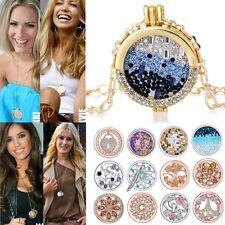 MY Coin Mi CZ Crystal Disc Charms Locket For DIY Womens Pendant Necklace Chain