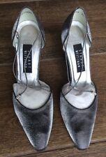 STUART WEITZMAN Magic Pewter Matte Lame Sling back Formal Evening Shoe Size 8.5