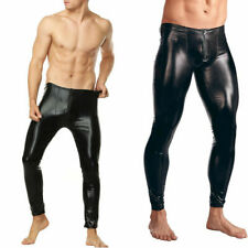 Sexy Men's Faux Leather Wetlook Tight Pants Leggings Clubwear Zip Trousers US