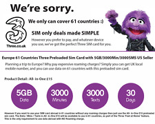 Italy, France, Germany (Europe 43 Countries Prepaid Sim Card 5GB/3K Min/3K TXT)