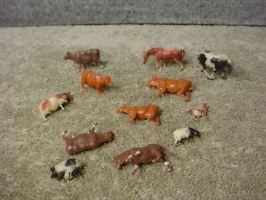 HO scale assorted farm set cows, horses, pigs, Set of 12 animals Farm
