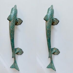 """Solid pure Brass heavy DOLPHIN shape Door 12 """" long pull handle antique green B"""