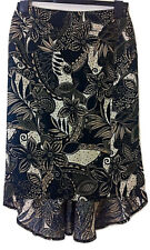 Womens RIVER ISLAND Floral Print Side Zip Dip Hem Linen Skirt - UK Size 8