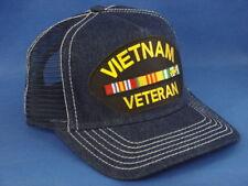 Vietnam Veteran Patch On A Denim Mesh Hat / Cap