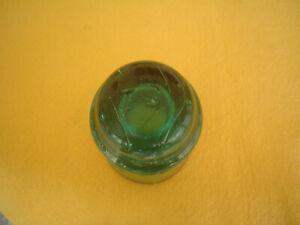 BROOKFIELD GLASS INSULATOR GREEN AQUA STAMPED J 3 ON TOP