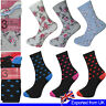 Ladies Socks Cotton Rich Floral Pattern Luxury 3 6 12 Pairs Size 4 to 8
