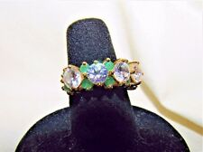 Estate DESIGNER ~ 2.5 TCW Natural EMERALD & CZ Y Gold P 925 Sterling Ring 6
