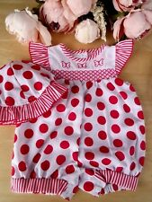 2Pc Baby Traditional Smocked Embroider Red Navy Polka Dot Romper Hat Set 0-3-6-9