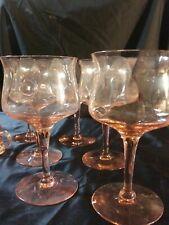 Lovely Antique Pink Depression Glass Wine Glasses 6
