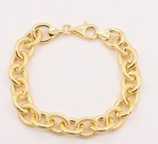 """7.5"""" Textured Polished Rolo Oval Link Bracelet 14K Yellow Gold Clad Silver 925"""