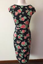 ROUTE 66 Black Floral dress Size 14 Rockabilly 1950s Pinup style