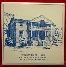 "HULL-WOLCOTT HOUSE ceramic tile 6"" x 6"" Maumee OHIO log cabin 1800s"