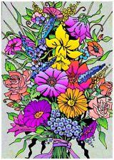 Tableau à colorier en velours - BOUQUET DE FLEURS - Neuf
