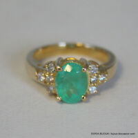 Bague Or 18k 750 Emeraude Et Diamants 4grs -50 - Bijoux occasion