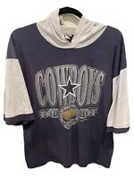 Vintage 7 Logo Dallas Cowboys Blue Gray Short Sleeve Hoodie Shirt 1992 NFL XL