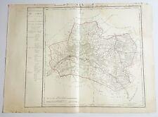 Dépt 45 - Carte Originale de 1790-1818 Gravure sur Cuivre Aquarellée 73 x 55 cm