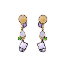 Exquiste J CREW Lavender Green Tan Beaded Gold Infused Dangling Earrings