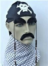 PIRATE BLACK SCULL CAP BANDANA AND HANGING BEADS + EYEBROWS & DROOP MOUSTACHE