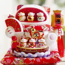 Large Oversize Céramique Lucky Cat Piggy Bank grande gueule ouverte 6 petits chats Ornement