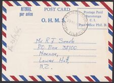 COOK IS 1968 OHMS airmail permit postcard used to NZ ex Rarotonga..........87724