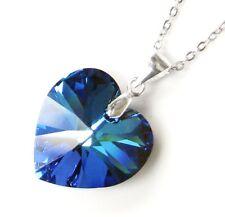 Swarovski Elements Crystal Heart Pendant w/ STR Silver Adjustable Chain Necklace