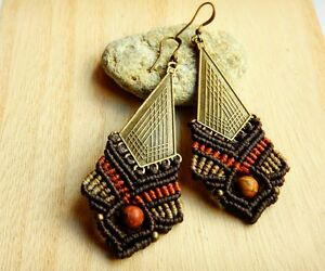 Handmade Macrame Earrings, earth colors, picasso jasper stone, handmade jewelry