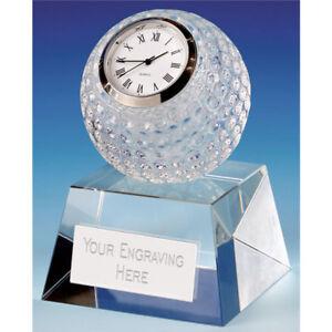 Golf Uhr Glas Trophäe Gratis Gravur Personalisiert Auszeichnung 9.5cm Kristall