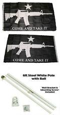 3x5 Black Come & Take It Guns 2ply Flag White Pole Kit Gold Ball Top 3'x5'