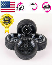 4X RC 1:10 Rubber Tires Mesh Wheel For HPI HSP On Road Street Touring Car