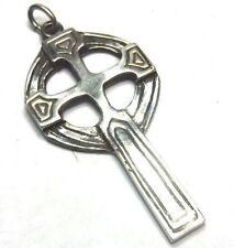 "Vintage Artisan 1 5/8"" Oxidized Sterling Silver Cross Pendant"