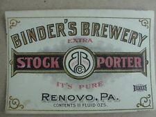 Binder's Brewery Stock Porter Pre Pro Beer Label Renovo, Pa Look!