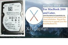 500GB Hard Drive for MacBook.2008 and Later. Pre-installed with El Capitan 10.11
