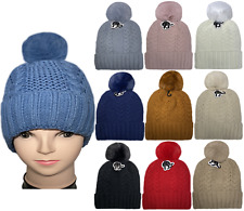 Fur Ball 2 twist Knitted Plush Lining Warm Winter cap Thick Knit Beanie Hats LOT