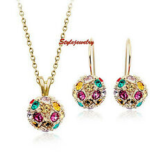 Rose Gold Filled Multicolor Crystal Ball Set Made with Swarovski Crystal XS22