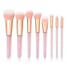 8Pcs Pink Crystal Makeup Brushes Powder Foundation Eyeshadow Blush Brush Set