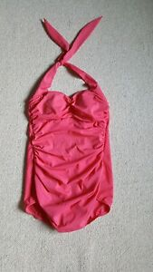 Womens Bathing Suit-SUDDENLY SLIM-CATALINA-bright pink one piece halter-8