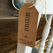 Personalised Vintage Rustic Wedding Place Name Luggage Tag, Choice of Colour