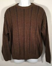 TOWNCRAFT CREWNECK MEDIUM BROWN BLUE STRIPE SWEATER EXCELLENT M