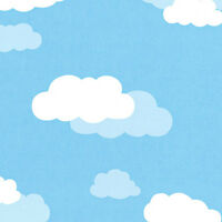 COTTON NOCTILUCENCE BEDDING CRAFTS CURTAIN FABRIC PICTORIAL CLOUD SKY BLUE 44'W