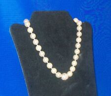 Beautiful Glass Based Faux Pearl & CZ Necklace