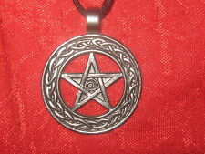 PEWTER TONE IRISH IRELAND CELTIC PENTAGRAM WICCAN  PENDANT NECKLACE