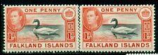 FALKLAND ISLANDS 85,85a SG147,147a MH 1938-46 1p red & rose car Swan Cat$25
