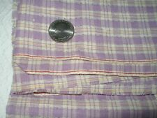 "1920's Antique Lavender Plaid Yardage, 2 Yards x 27"", Very Old Cotton"