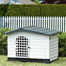 Dog Kennel House Puppy Indoor & Outdoor Pet Shelter With Raised Base Grey